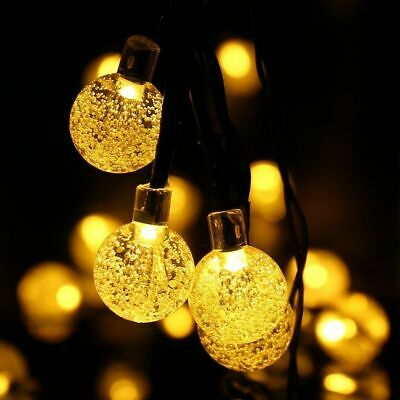 50 LED solaire de jardin alimenté fée partie chaîne boule de cristal lumière 6