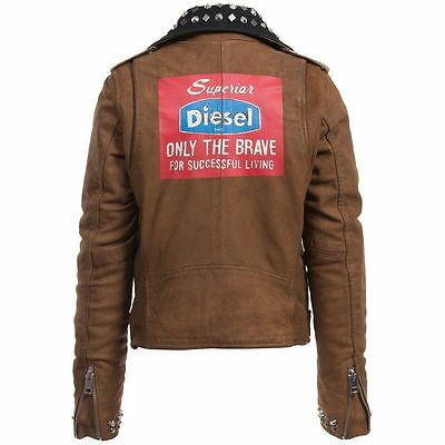Diesel L-Ulisse Brown Studded Leather Jacket For Boys & Girls 8Yrs Rrp £399 2