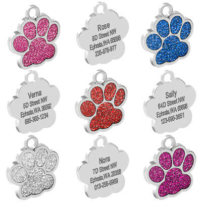 Personalized Dog Tags Engraved Cat Puppy Pet ID Name Collar Tag Bone/Paw Glitter 3