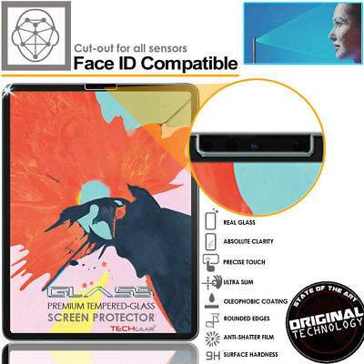 TECHGEAR TEMPERED GLASS Screen Protector for Apple iPad Pro 12.9 2018 Face ID OK 3