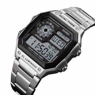 SKMEI Men Luxury Waterproof Alarm Stainless Steel Digital Square Wrist Watch US 3