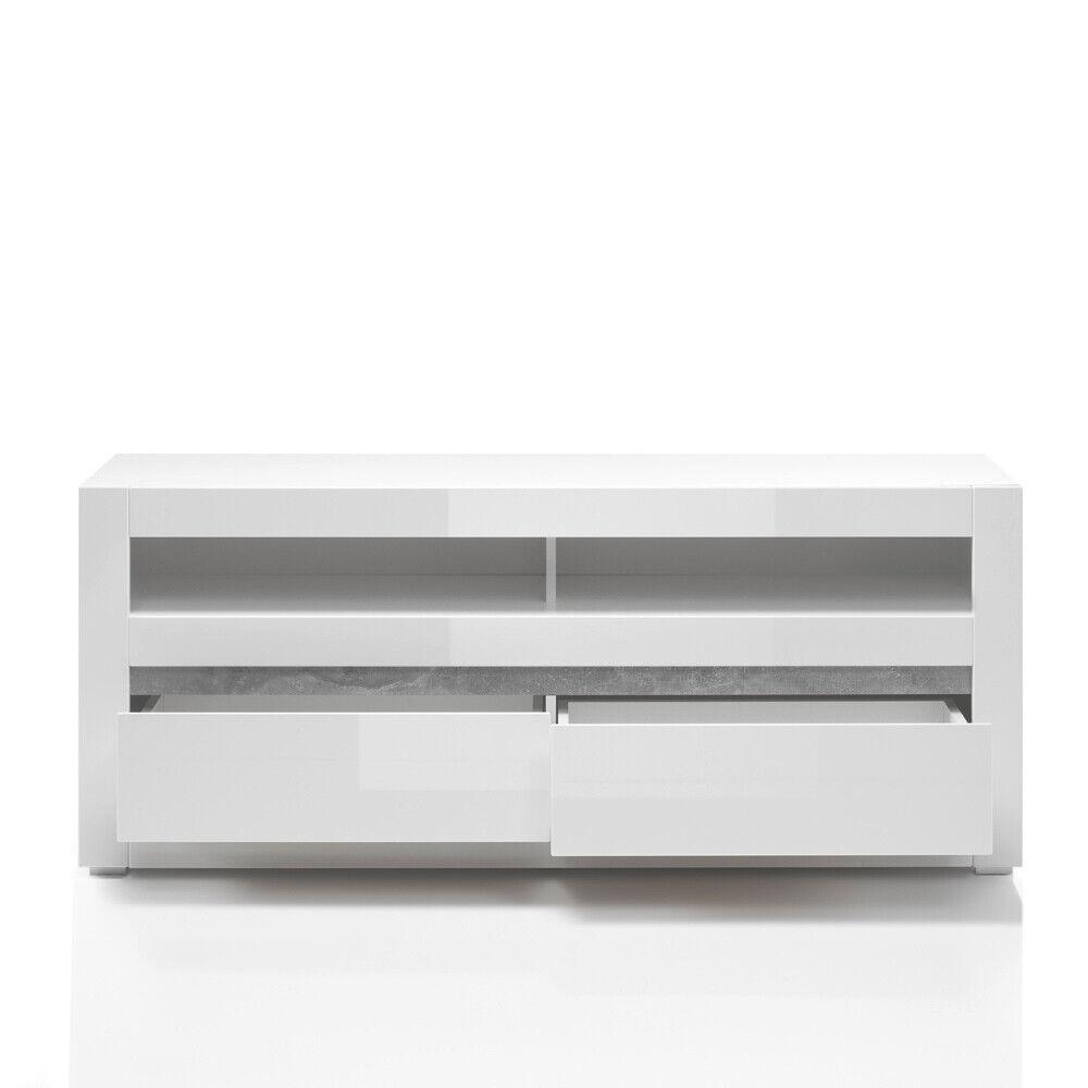 LOWBOARD 150CM MEDIA-TISCH Fernsehtisch TV-Schrank weiß Hochglanz LED HiFi  Rack