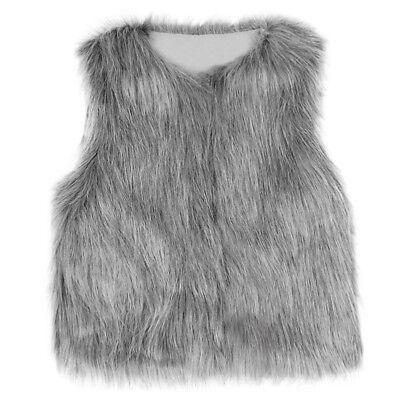 Baby Girls Kid Winter Faux Fur Waist Gilet Jacket Outwear Vest Coat Waistcoat AE 7