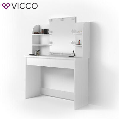 Vicco Table de maquillage Charlotte commode de coiffeuse miroir LED blanc 7