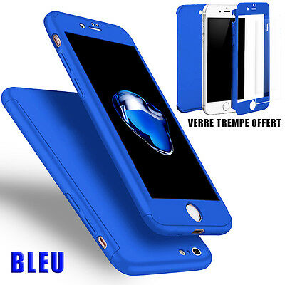 Housse Etui Coque 360 Protection Iphone 6/Plus/7/8/X/5S/Se + Vitre Verre Trempe 7