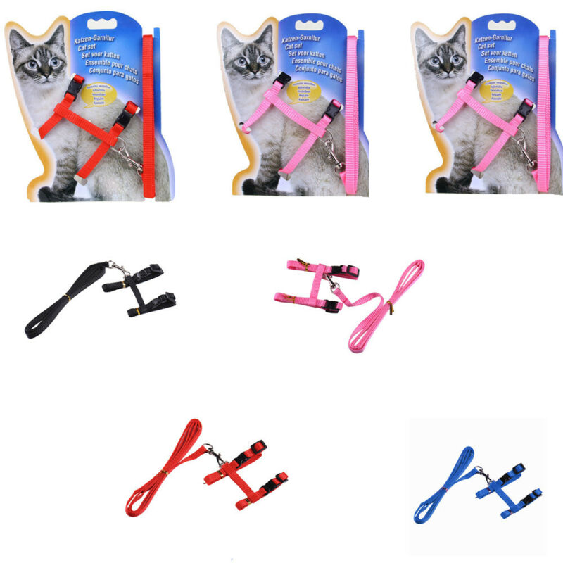 solid Cat Puppy Adjustable Harness Collar Nylon Leash Lead Safety Walking Rope 7