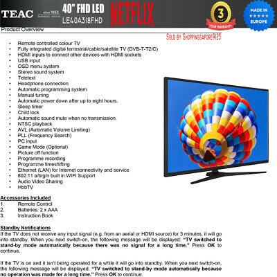 "TEAC 40"" Inch FHD SMART TV Netflix Youtube Freevie Made In Europe 3Year Warranty 4"