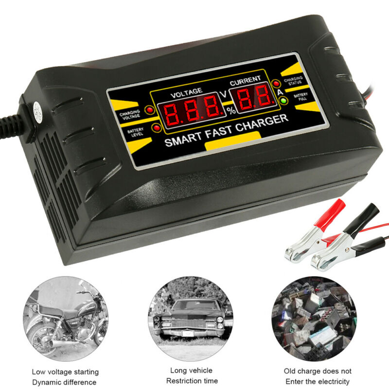 12V 10A Automatic Intelligent Smart Car Battery Charger Lead Acid GEL LCD 3
