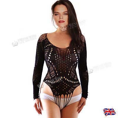 UK 6-22 Women Top Blouse Floral Lace Net Bodysuit Lingerie Fishnet Jumpsuit Plus