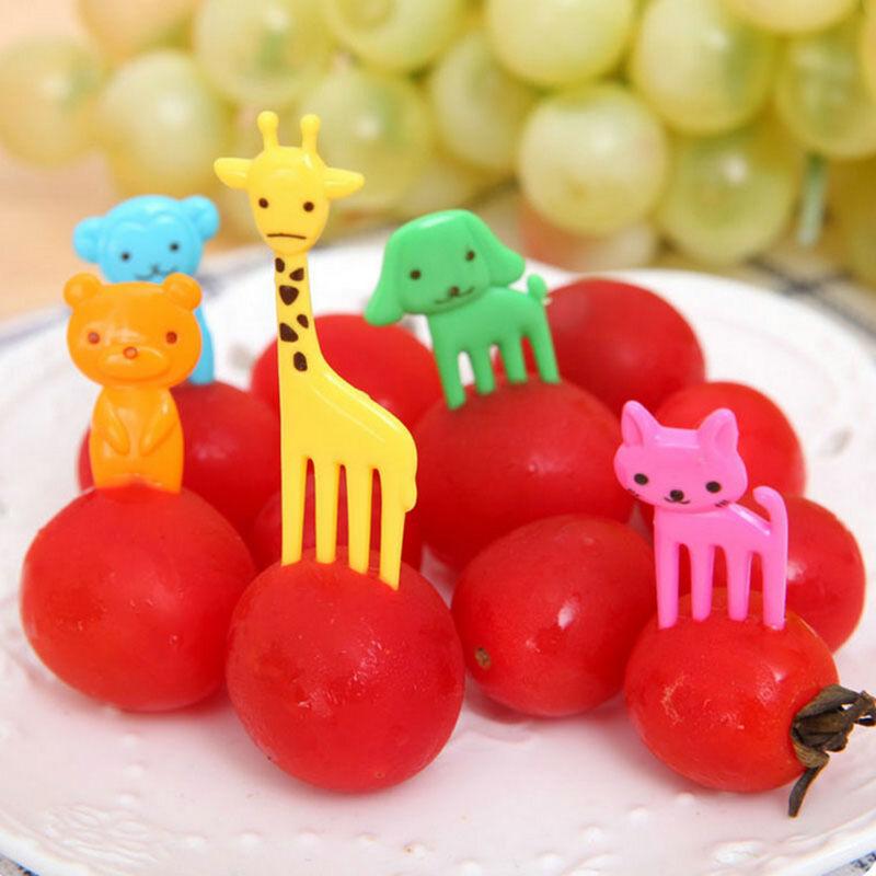 10Pcs Fruit Fork Animal Food Picks Forks Children Cartoon Bento Lunch Decoration 3