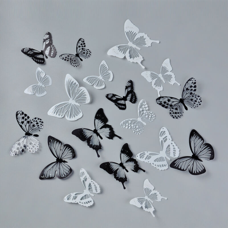 18 PIECES DIY 3D Butterfly Wall Stickers Art Design Decals Room ...