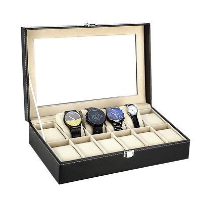 Coffret boîte à Montre boîtier pour 10/12/24 montres rangement bijoux présentoir 9