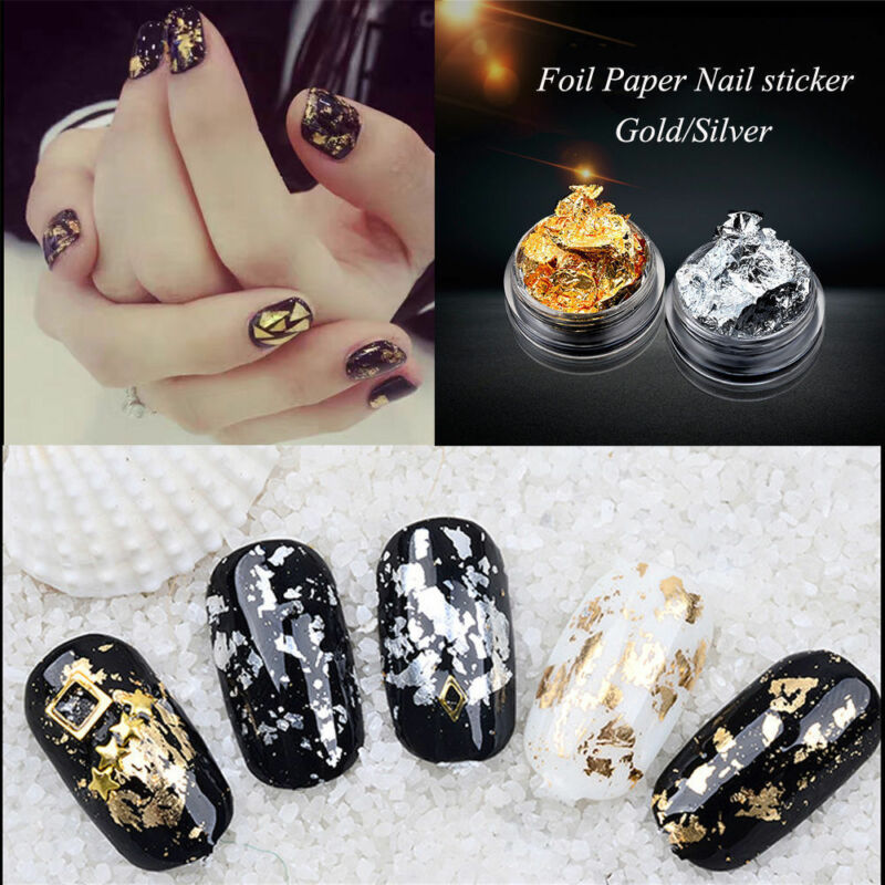 12pcs Nail Art Gold Silver Metal Foil Paper 3D Sticker Flake Decal Decoration 4