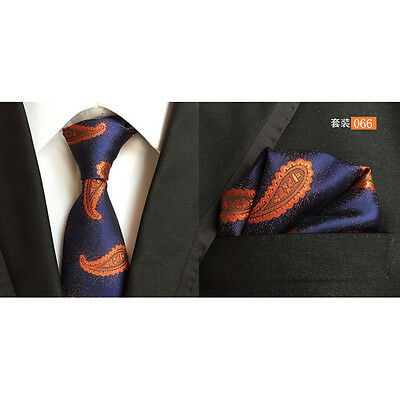 Men Classic Silk Paisley Tie Jacquard Woven Necktie Pocket Square Handkerchief 6