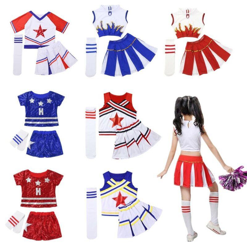 Children Girls Modern Jazz Dance Gym Outfit Cheerleader Carnival Party Show Wear 2