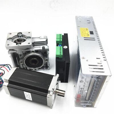 3NM Stepper Motor NEMA23 Drive Kit L112mm Worm Gear Reducer30:1&Power Supply CNC 2