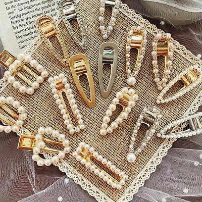 Fashion Gold Silver Pearl Metal Hair Clip Clamps Hairpins Barrette Slide Clip 4