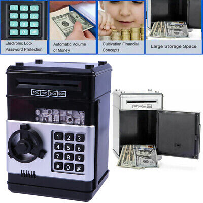 Electronic Piggy Bank ATM Password Money Box Cash Coins Saving Automatic Deposit 2