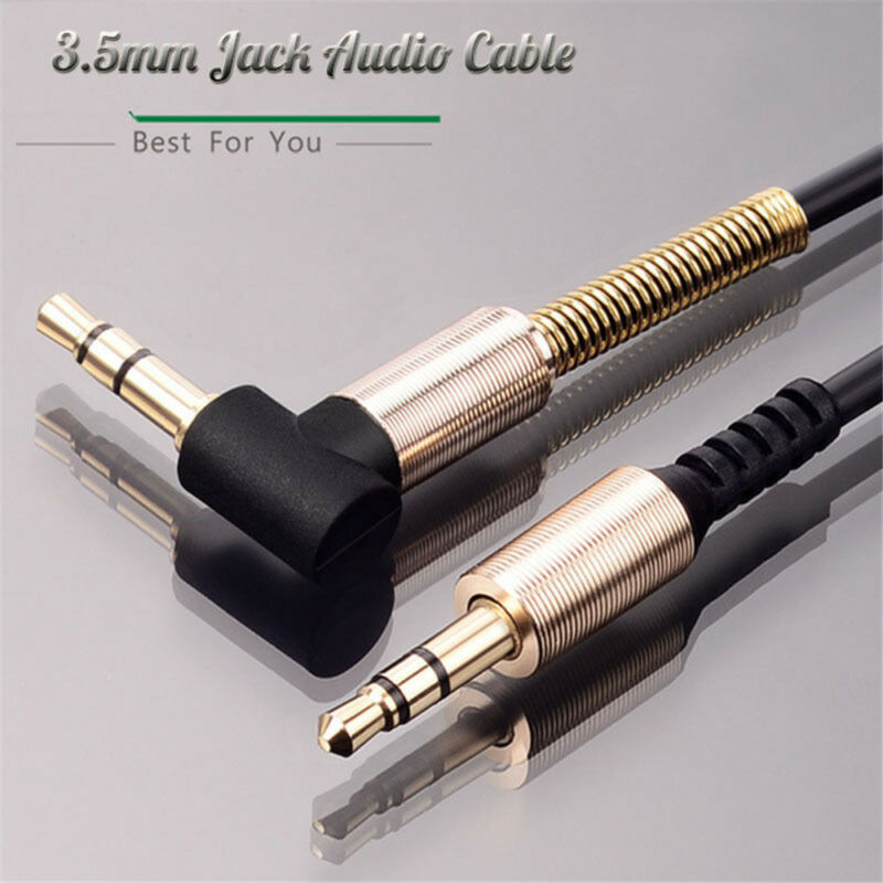 Stereo Audio 3.5mm Jack Cable Male To Male 90 Degree Right Angle Flat Aux Cable