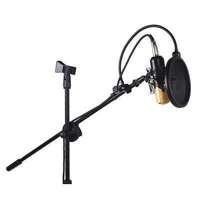 Professional Boom Tripod Microphone Mic Stand Holder Adjustable Black + 2 Clips 4