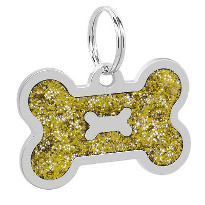 Glitter Bone Shape Personalized Dog Tags Engraved Pet ID Name Collar Tag Charm 7