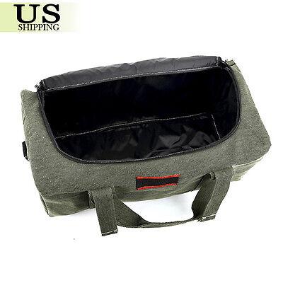 Men's Military Canvas Leather Gym Duffle Shoulder Bag Travel Luggage Handbag 2