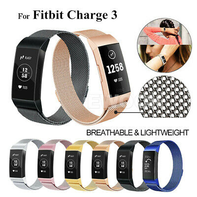 For Fitbit Charge 3 Band Metal Stainless Steel Milanese Loop Wristband Strap AU 11