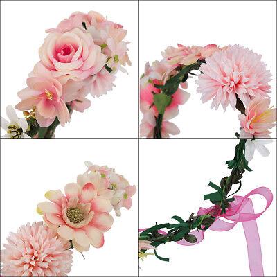 Adjustable Women's Beautiful Flower Crown Headband Hair Wreath Garland Ribbon 10