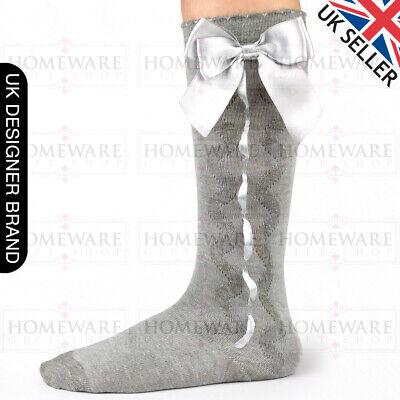 Girls Knee High Bow Socks Spanish Style Slotted Ribbon Socks Uk Designer Kids 3