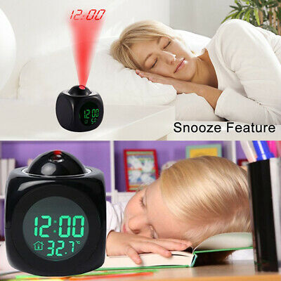 Digital Projection Alarm Clock With LCD Display Voice Talking LED Projector US 3