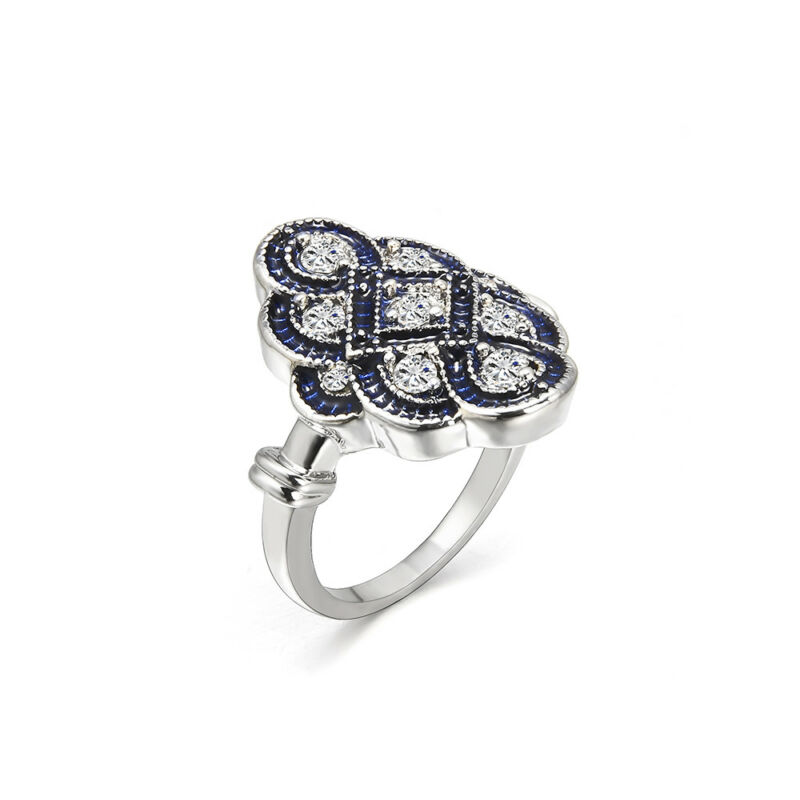 Art Deco Women Wedding Engagement Ring White Sapphire Silver Jewelry Size 5-10 3