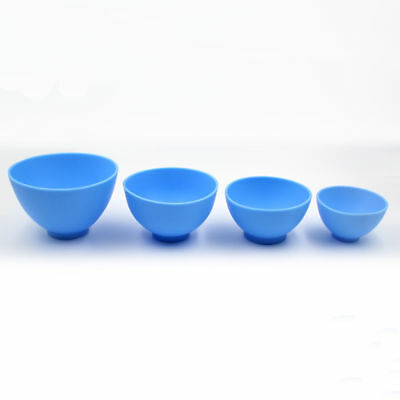 Dental Lab Mixing Bowl Blue Nonstick Flexible Silicone Rubber Impression Cup 3