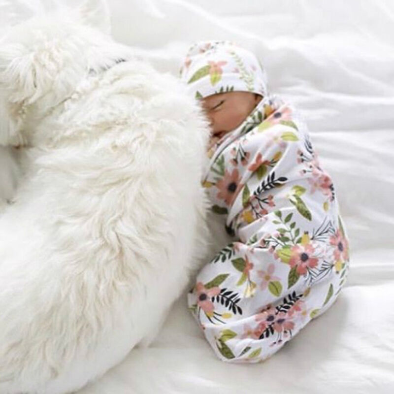 Newborn Baby Boy Cocoon Swaddle Blanket Sleeping Swaddle Muslin Wrap Hat Lovely 5