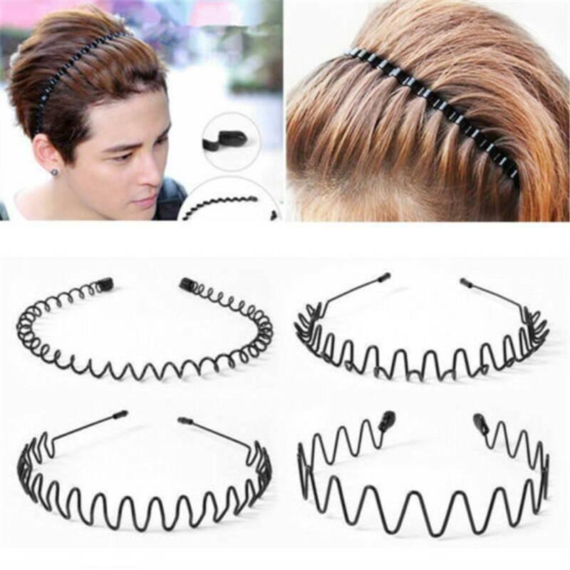 Unisex Men's Women Sports Wave Hair Band Metal Black Hairband Headband Headwear 2