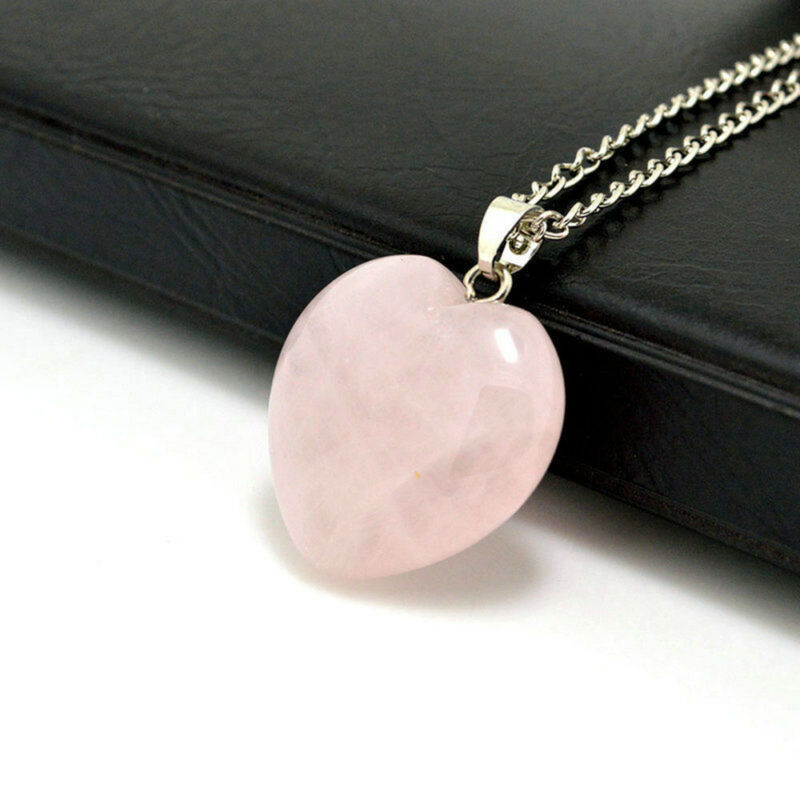 Natural Quartz Stone Gemstone Heart Rock Healing Point Chakra Pendant Necklace 3