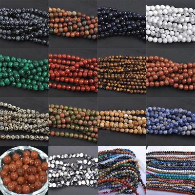 Natural Gemstone Round Spacer Loose Beads 4MM 6MM 8MM 10MM Assorted Stones