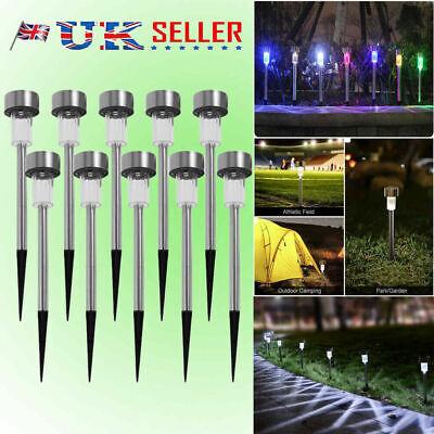 10 Solar Powered Garden Lights Post Patio Outdoor Led Lighting Stainless Steel K 2