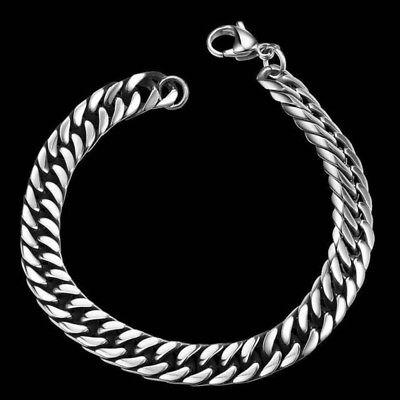Silver Men's Stainless Steel Chain Link Bracelet Wristband Bangle Jewelry Punk 7