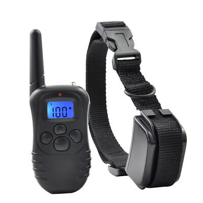 300m Rechargeable Pet Remote Control Bark Training Shock Collar For S M L Dog US 12