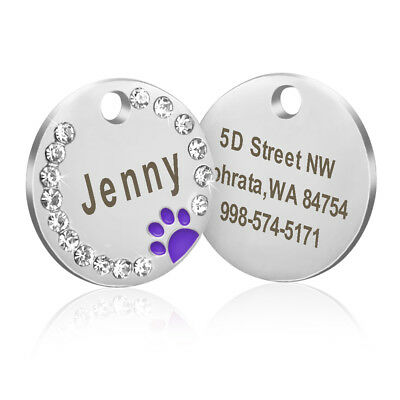 Personalized Dog Tags Paw Rhinestone Pet Cat ID Name Tag Engraved Free Hair Bows 5