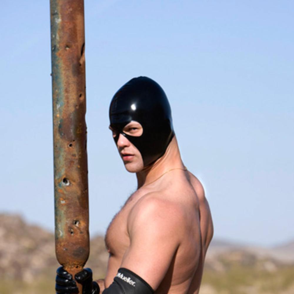 Sexy Leder LaTeX Haube Schwarze Maske Atmungsaktive Fetisch BDSM Bondage Maske 2