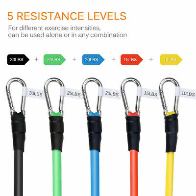 Resistance Loop Bands set of 5 POWER GYM FITNESS EXERCISE YOGA WORKOUT PULL UP 5