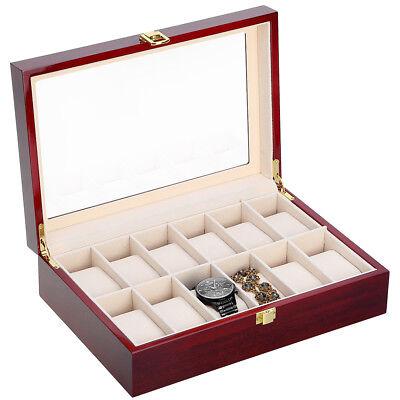 Coffret pour 12 montres boîte à montre boîtier rangement bijoux présentoir FR 8