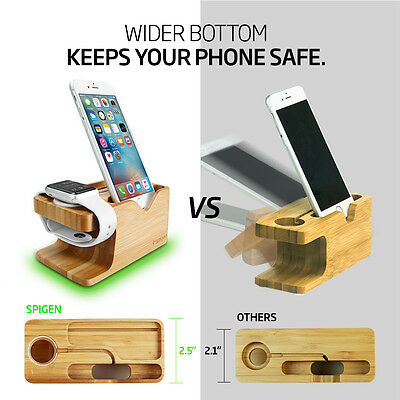 Spigen® Apple Watch and iPhone Stand [S370] Bamboo Charging Dock Station 5
