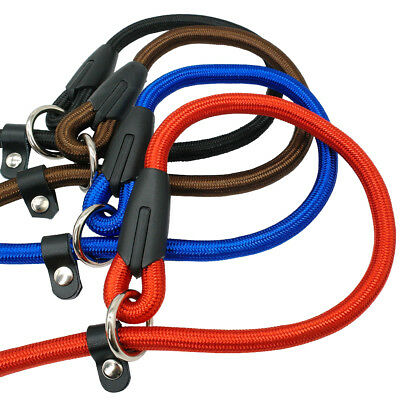 Nylon Rope Slip Dog Lead 5ft Pet Collar Training Show Leash Red Black Blue Brown 2