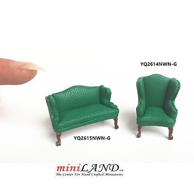 "1:48 1/4"" quarter scale Queen Anne Leather Sofa /wing chair set GREEN Dollhouse"