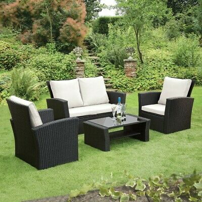 GSD Rattan Garden Furniture 4 Piece Patio Set Table Chairs Grey Black or Brown 4