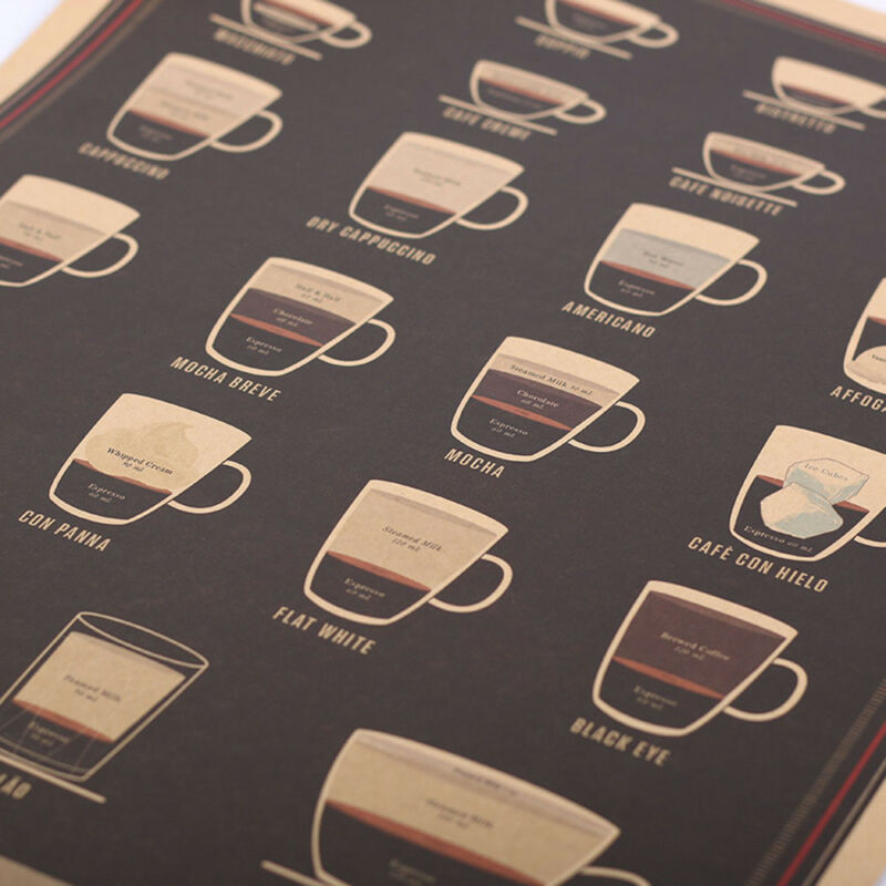 Coffee Bar Decoration Kraft Paper Retro Poster Vintage Picture Wall Sticker 8