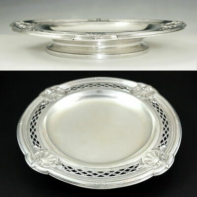 Antique French Sterling Silver Centerpiece Tazza Footed Tray Repousse Sea Shells 4