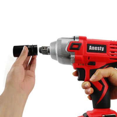 "18V Lithium Ion Cordless Impact Wrench Li-ion 1/2"" Drive Ratchet Rattle Nut Gun 9"
